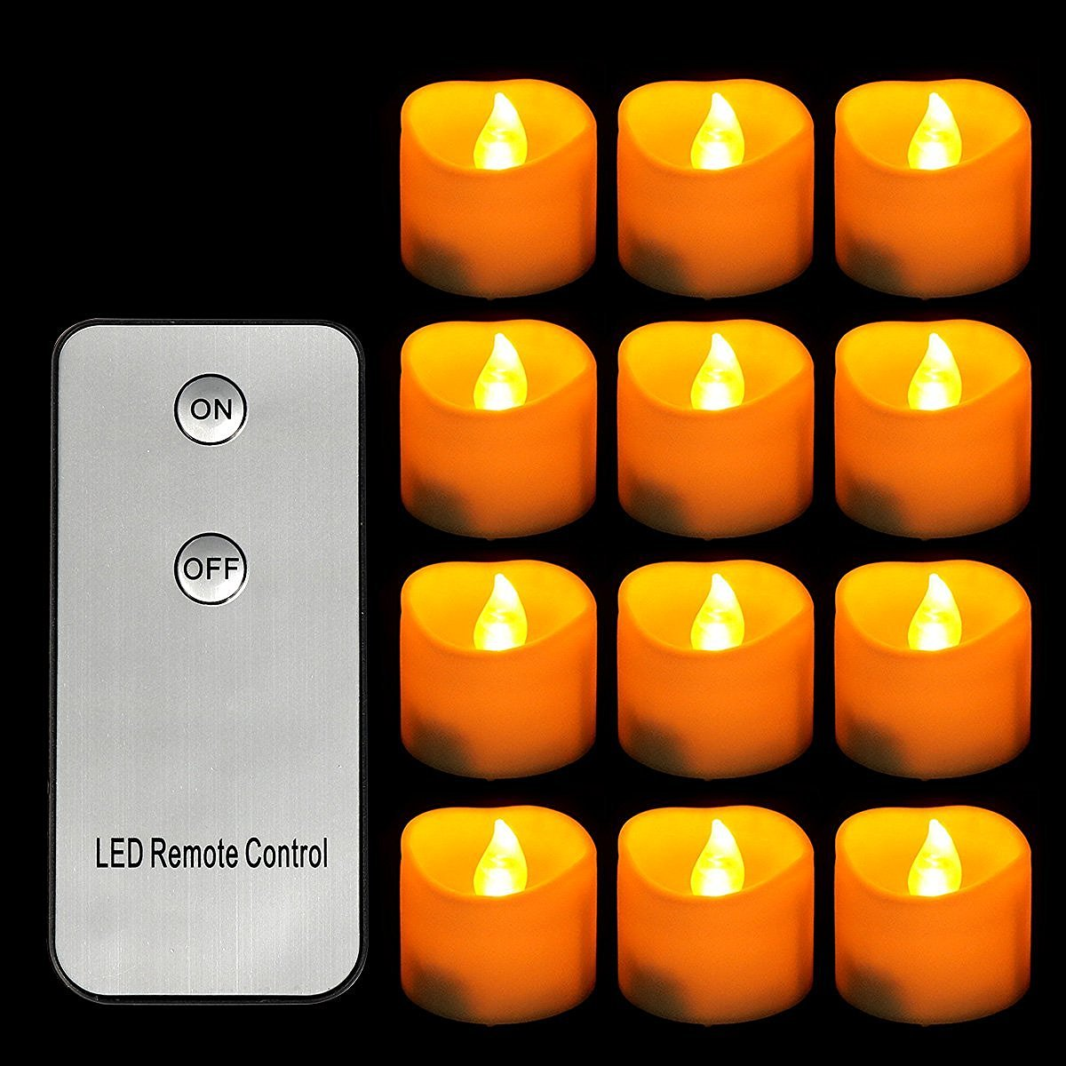 Youngerbaby 12pcs Yellow Flameless Led Tealights Candle with Remote Function Flickering Battery Operated Tea Light Candles for Wedding Party Christmas Votive Home Decorate Candle Night Lights