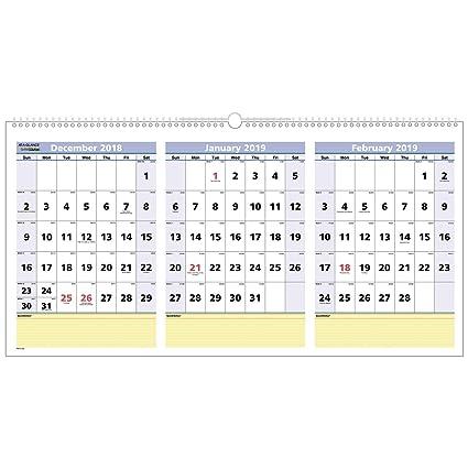 Febrero 2020 Calendario.Calendario De Pared At A Glance 2019 Diciembre 2018 Febrero 2020 Visualizacion De 3 Meses 23 1 2 X 12 Quicknotes Horizontal Pm1528