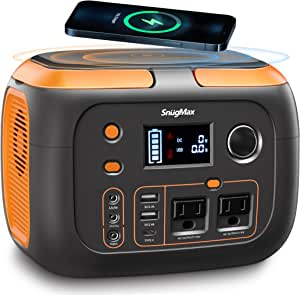 SNUGMAX Portable Power Station Vickers 350, 80000mAh, 350W Solar Generator with 110V AC Outlet/2 DC Ports, Wireless Charging, Portable Power Supply for CPAP, Home Emergency, Camping