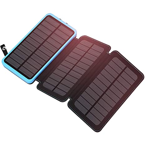 ADDTOP Cargador Solar 24000mAh Power Bank con 3 Paneles solares Portátil Impermeable Batería Externa para iPhone