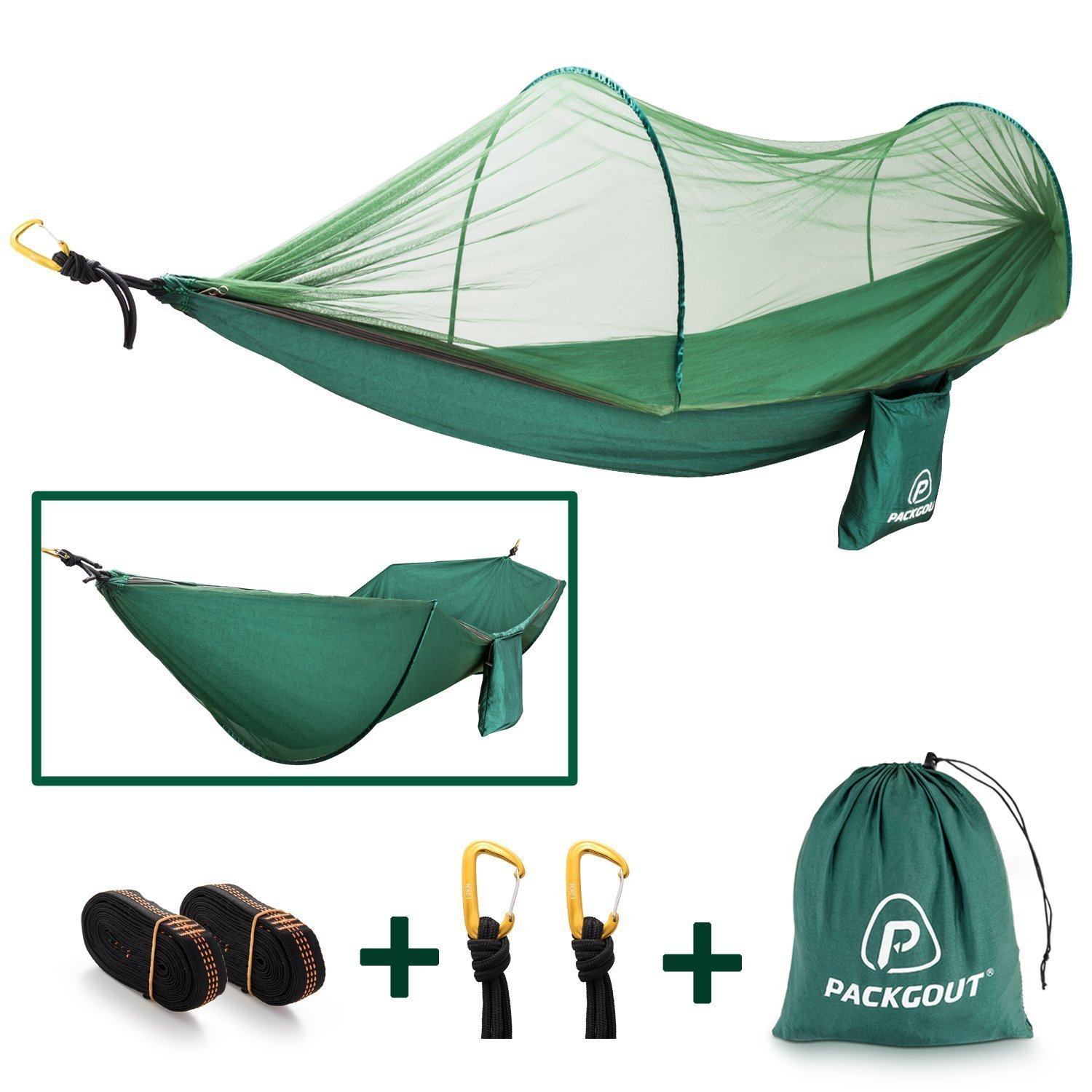 PACKGOUT PCACKGOUT Mosquito Hammock, Net Camping Gear Camping Hammock with Mosquito Lightweight Portable Hammock Sleeping Hammock for Travel Hiking Outdoor by PACKGOUT