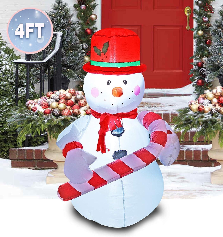 El muñeco de Nieve Inflable de la Navidad de la decoración del 1.2m sostiene un bastón de Caramelo para el césped casero al Aire Libre