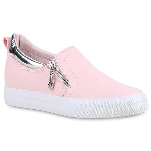 Stiefelparadies Damen Sneaker Wedges mit Keilabsatz Zipper Flandell