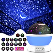 Night Lighting Lamp [ 4 LED Beads, 3 Model Light, 4.9 FT(1.5 M) USB Cord ] Romantic Rotating Cosmos Star Sky Moon Projector,