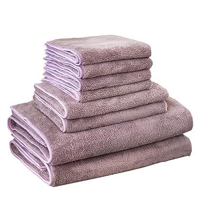 SYXLTSH 2 Toallas de baño Toallas algodón Adulto Grueso Suave Absorbente Hotel Juego de 8 púrpura