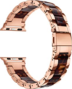 V-MORO Resin Bracelet Compatible Apple Watch Band 44mm 42mm iWatch Women Series 6/5/4/3/2/1, Luxury Metal Stainless Steel Metal Wristband Bracelet Strap (Tortoise/Rose Gold, 42mm)