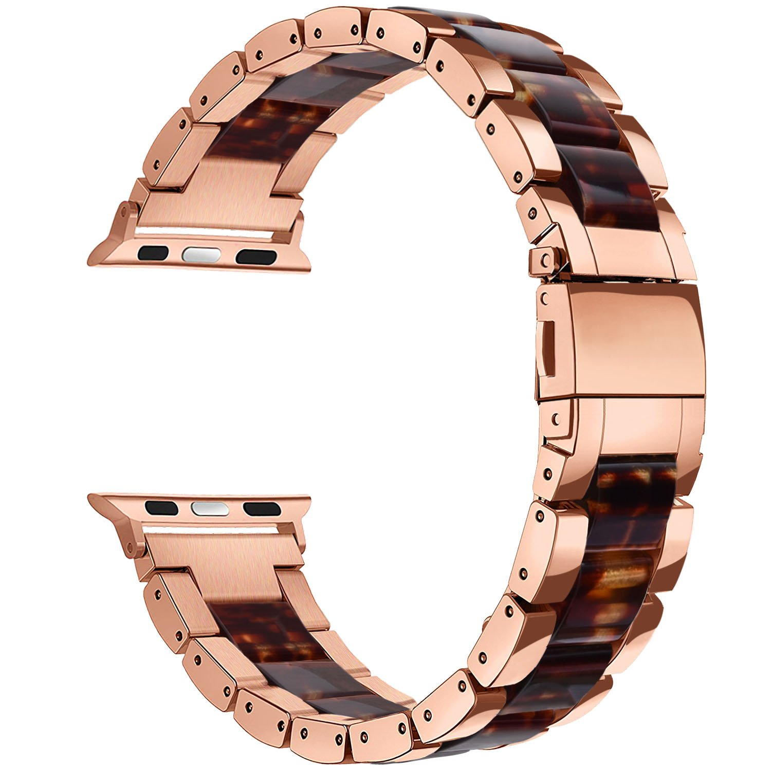 V-MORO Resin Bands Compatible Apple Watch Bands 38mm 40mm iWatch Women Series 4/3/2/1, Luxury Metal Stainless Steel Metal Wristband Bracelet Strap (Tortoise/Rose Gold, 38mm) by V-MORO