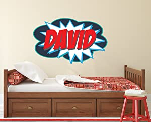"Personalized Comic Name Wall Decal for Boys Superheroes Nursery Baby Room Mural Art Decor Vinyl Sticker LD09 (28""W x 16""H)"
