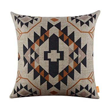 LINKWELL 18 x18  Ethnic Printed Pattern Design Attractive Burlap Cushion Covers Pillow Case (CC1014) Printing