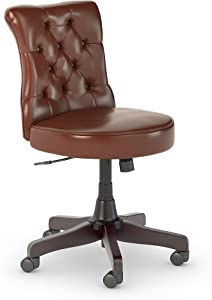 Bush Furniture Fairview Mid Back Tufted Office Chair in Harvest Cherry Leather