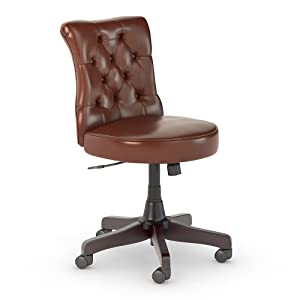 Bush Business Furniture Arden Lane Mid Back Tufted Office Chair, Harvest Cherry Leather