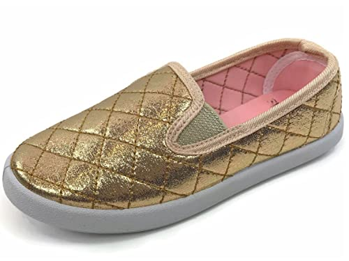Soho Kids Trait Slip On Sneakers Trendy Shoes Comfortable Closed Toe, Gold, 2