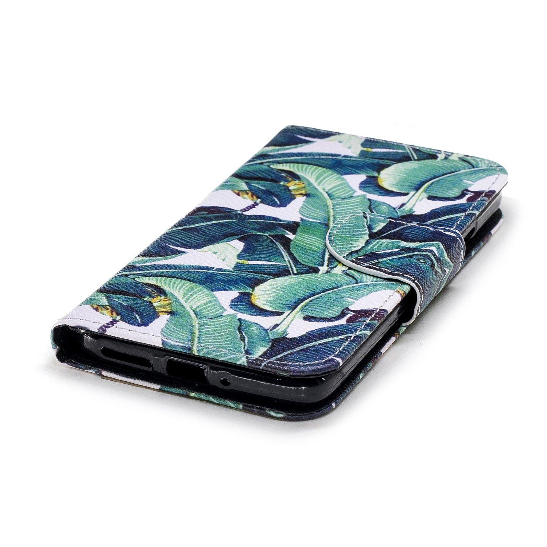BONROY Coque a Rabat pour Motorola Moto G5 S,/Étui Fin Smart magn/étique avec Stand Pliant-Fleur Noire
