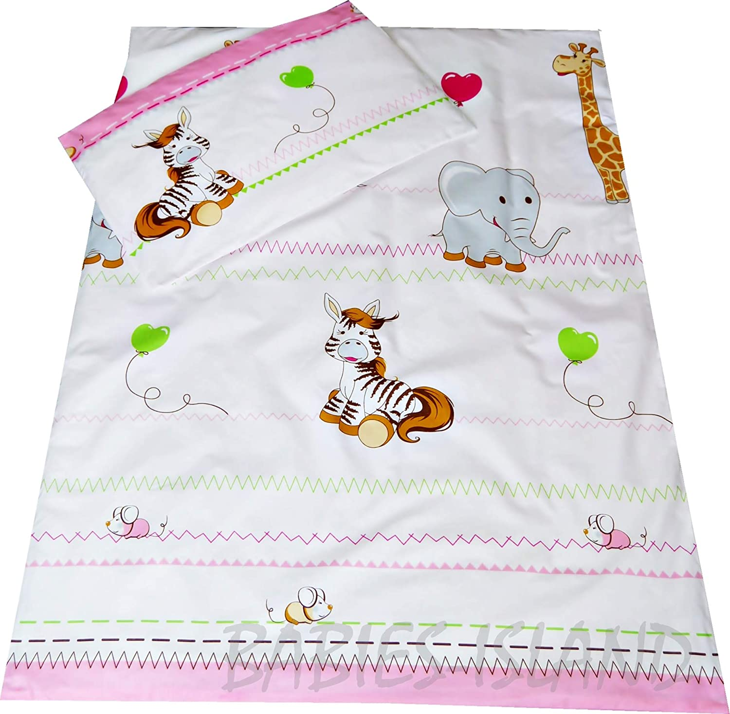 Girls Duvet Cover and Pillowcase to fit Cot babies-island Childrens Bedding set 90x120 cm PINK JUNGLE ANIMALS
