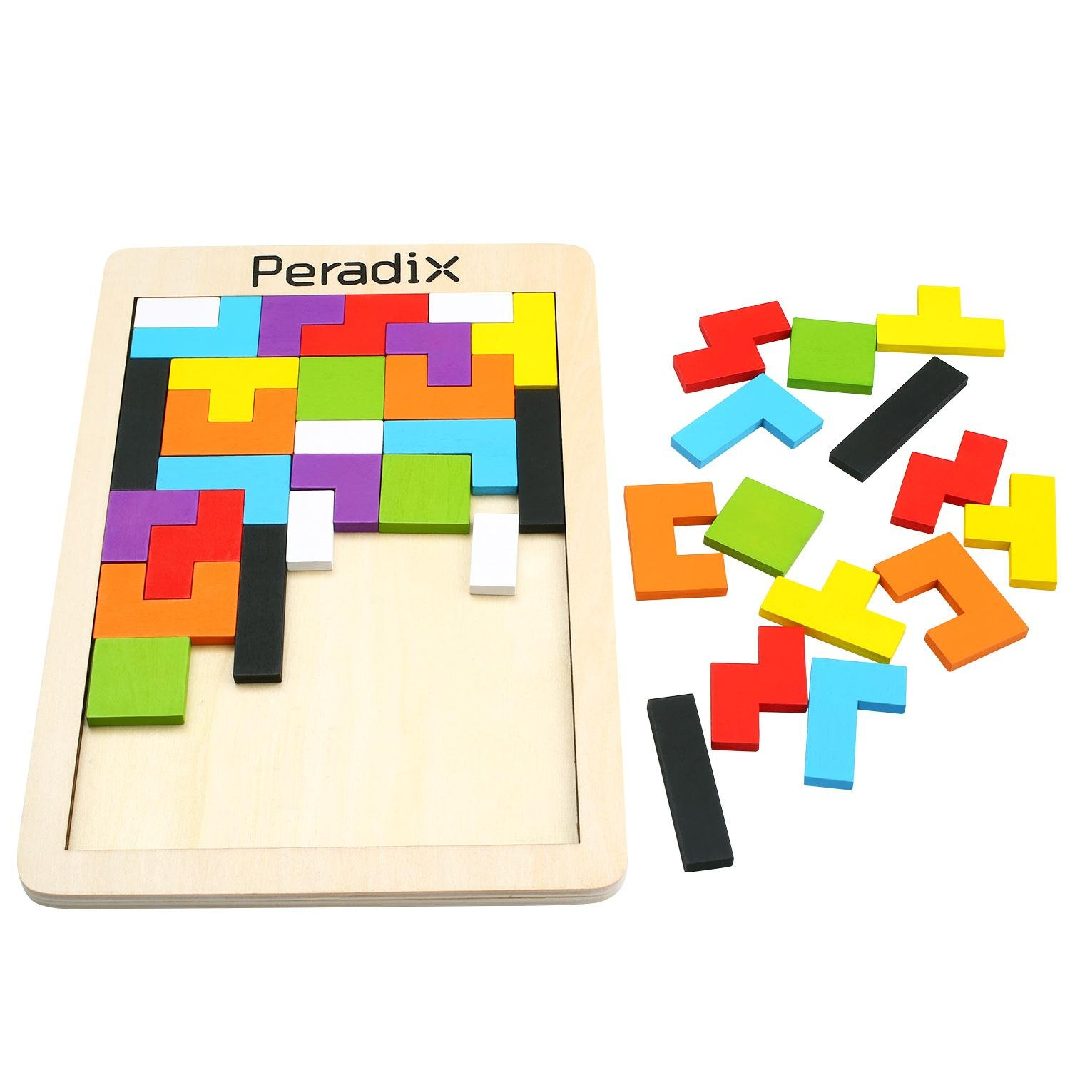 Wooden Tetris Jigsaw Puzzle Brain Teaser Tangram Board Game Toys Colorful Building Blocks for Toddlers Imagination Education by Peradix