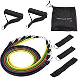 Mpow 12pcs Resistance Bands set, Stackable Exercise Bands with Handles, Door Ankle, Ankle Straps and Carrying Bag, Workout Bands for Muscle Building, Physical Therapy, Yoga and Pilates (UP to 100lbs)