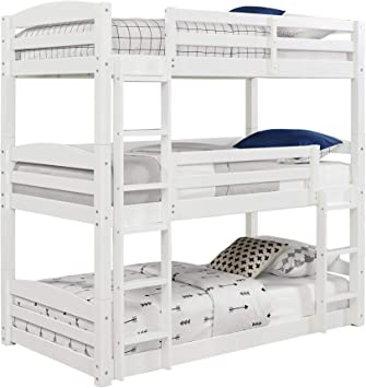 Amazon Com Dorel Living Sierra Twin Triple Bunk Bed In White Furniture Decor