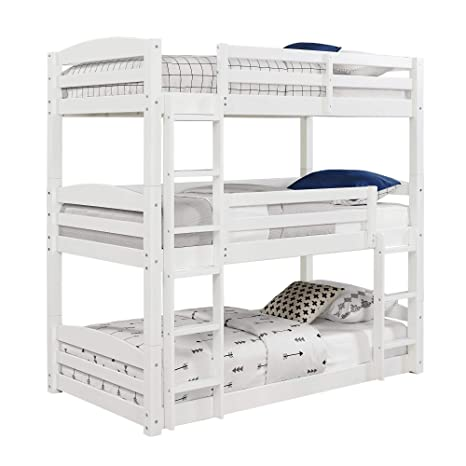 Amazon Com Dorel Living Sierra Triple Twin Wood Bunk Bed White