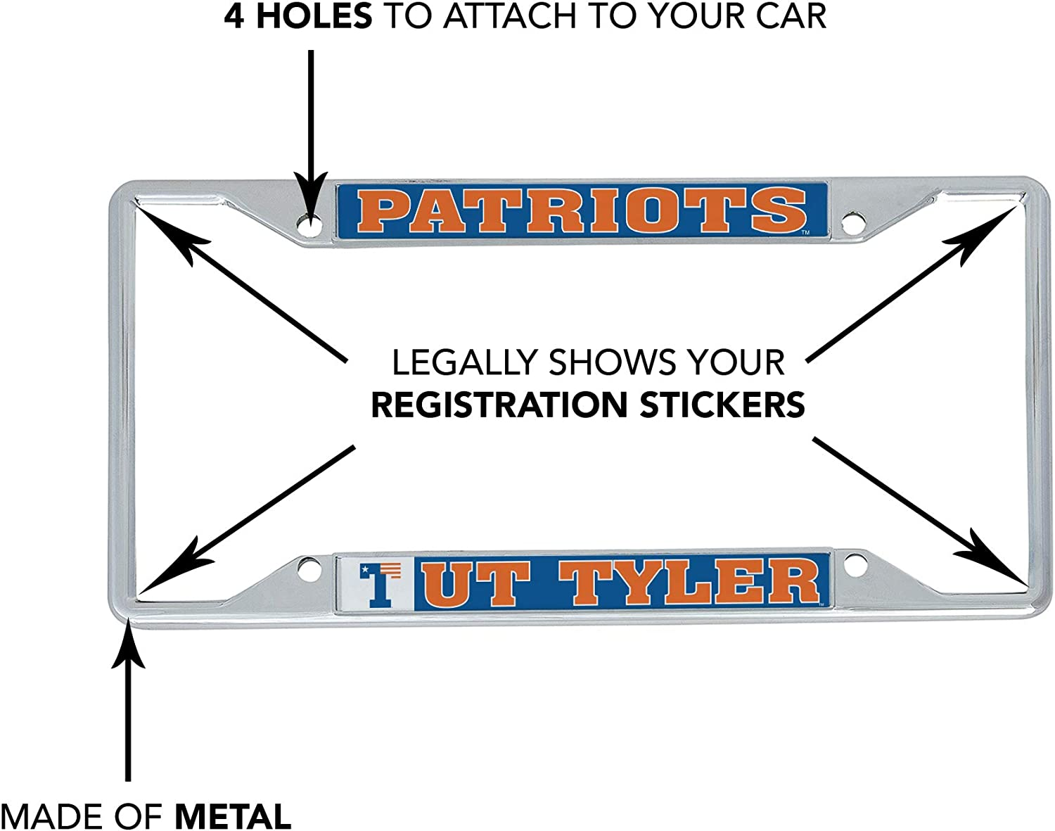 Mascot Desert Cactus The University of Texas at Tyler UT Patriots NCAA Metal License Plate Frame for Front Back of Car Officially Licensed