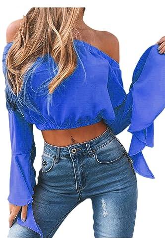 Mujeres Vintage Vestido Fuera Del Hombro Flare Sleeve Loose Crop Top Blusas