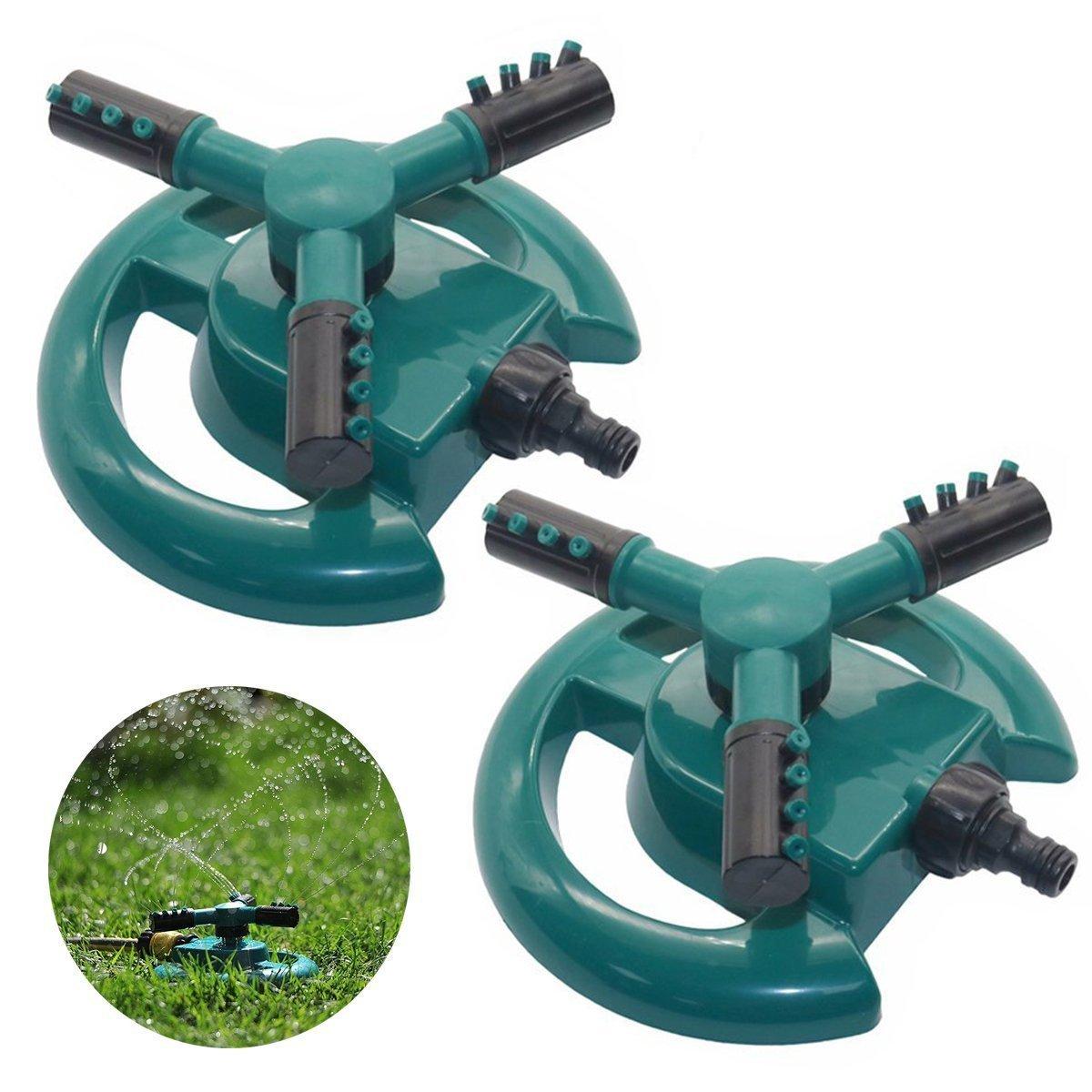 PERTTY 2 Pcs Lawn Sprinklers Water Sprinklers Plastic Automatic 360 Rotating Garden Sprinklers with Three Arm Water Sprinklers