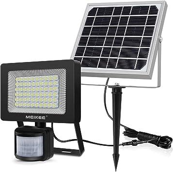 MEIKEE Foco Led Solar Exterior, Sensor de Movimiento Foco Solar Exterior, Lámpara solar con 60 LEDs Súper Brillantes 400LM, IP66 Impermeable, Para Jardín, Terraza, Garaje, Patio - Blanco Frío(6500K): Amazon.es: Bricolaje y
