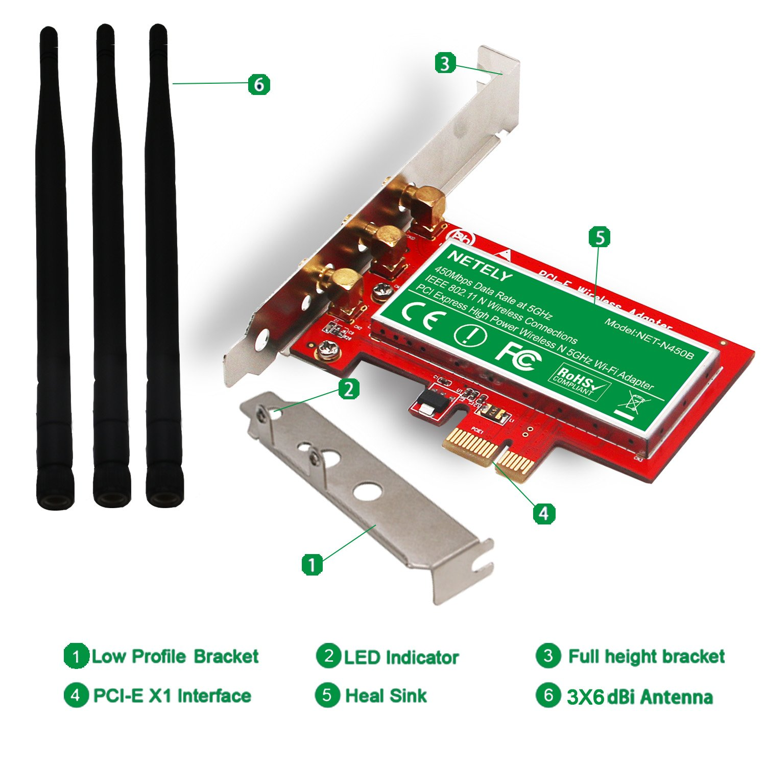 PCI-E Wi-Fi Adapter for PCs or Working Stations-PCIE Wireless Network Card-Qualcomm Atheros Wireless Network Adapter NET-N450B NETELY Wireless N 5GHz 450Mbps 3X3MIMO High Power PCI Express