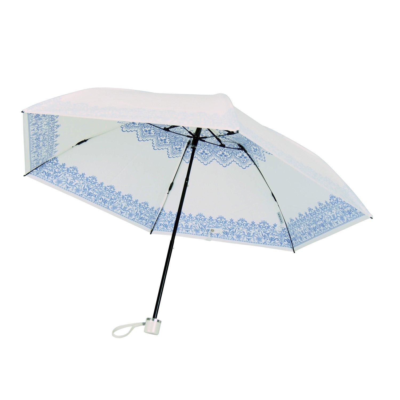 UVION(ユビオン) ホワイト 折りたたみ傘 手開き 遮光 遮熱 日傘/晴雨兼用傘 レース 全3色 ブルー 6本骨 50cm UVカット 99% 以上 軽量 コンパクト 3927BL B01N769983