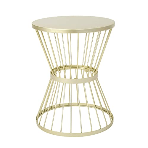 Christopher Knight Home Lassen Outdoor 16 Iron Side Table, Matte Gold