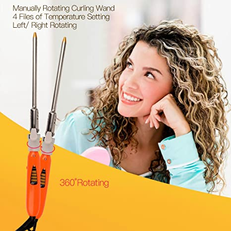 Amazon.com: inkint Rotating Curling Wand 9mm Small Size Long Barrel Hair Curling Iron with Display 4 Grades Heat Control for Men Women Kids Children (9mm): ...