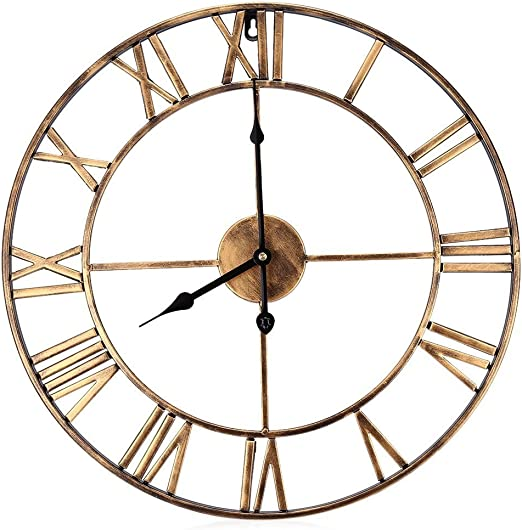 Amazon Com Decorative Wall Clock Eruner 18 5 Inch Oversized 3d Vintage Metal Clock With Roman Numerals Large Dial Non Ticking Home Kitchen Living Room Restaurant Cafe Bar Decoration Gold Home Kitchen