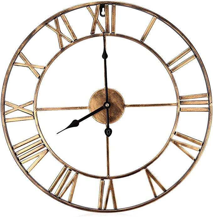 Decorative Wall Clock Eruner 18 5 Inch Oversized 3d Vintage Metal Clock With Roman Numerals Large Dial Non Ticking Home Kitchen Living Room Restaurant Cafe Bar Decoration Gold Home Kitchen Amazon Com