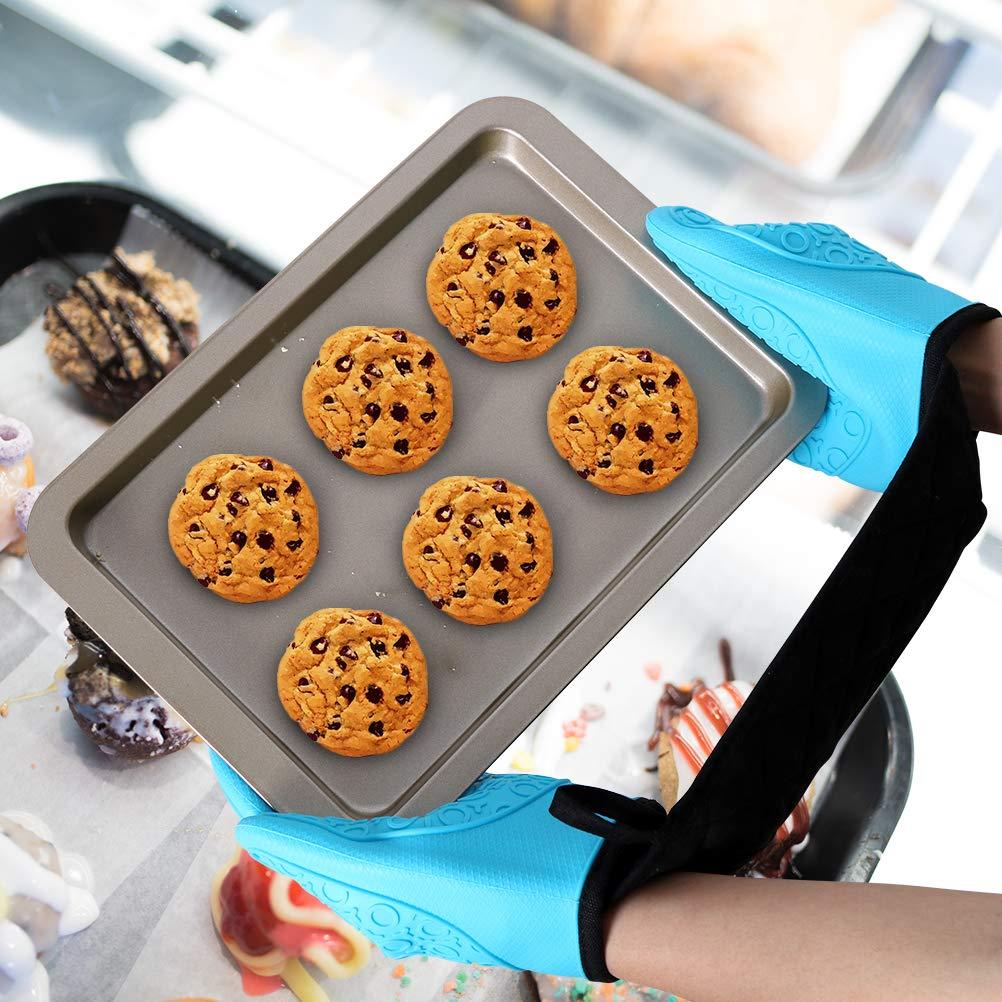 con Forro de algod/ón para Cocina microondas cocinar Guantes Dobles para Horno Hornear Resistentes al Calor Azul Antideslizantes Alimat PluS de Silicona