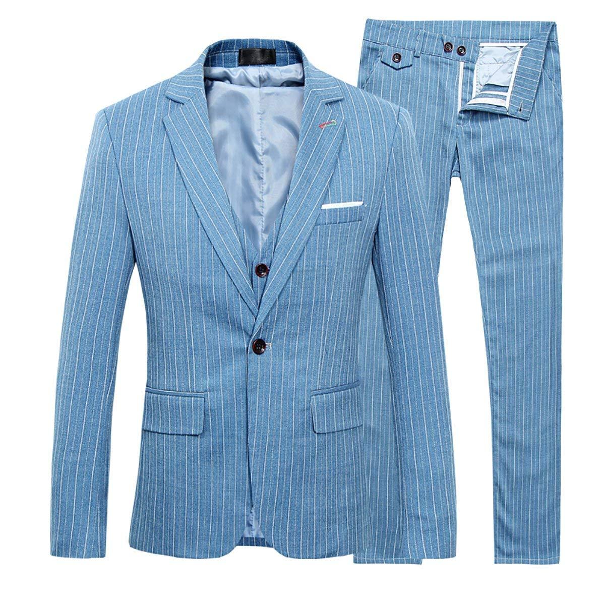 Men's Stripe Center Vents One Button 3-Piece Suit Blazer Jacket Tux Vest & Trousers Blue by Cloudstyle