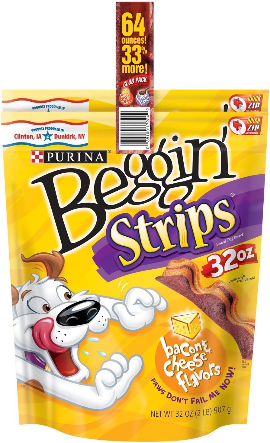 Beggin Strips Dog Treats By Purina Bundle of 2 Lg. Bags 1 Bacon 1 Bacon and Cheese 2 lbs. Each