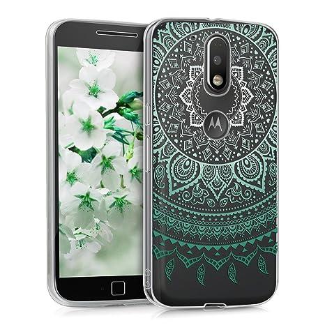kwmobile Funda para Motorola Moto G4 / Moto G4 Plus - Carcasa de [TPU] para móvil y diseño de Sol hindú en [Menta/Blanco/Transparente]