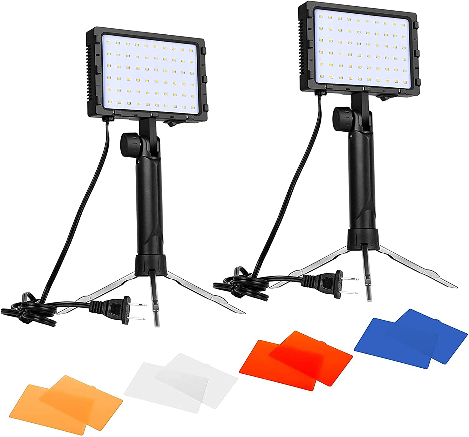 Emart 60 LED Continuous Portable Photography Lighting Kit for Table Top Photo Video Studio Light Lamp with Color Filters - 2 Packs : Camera & Photo