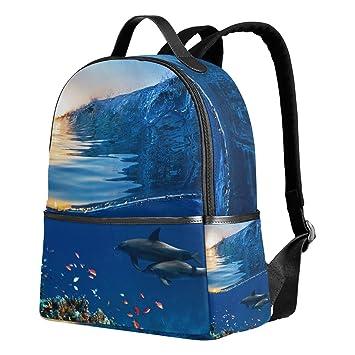 deyya dos hermosos delfines natación niños mochilas escolares para niños niñas bookbags de los niños regalo: Amazon.es: Electrónica