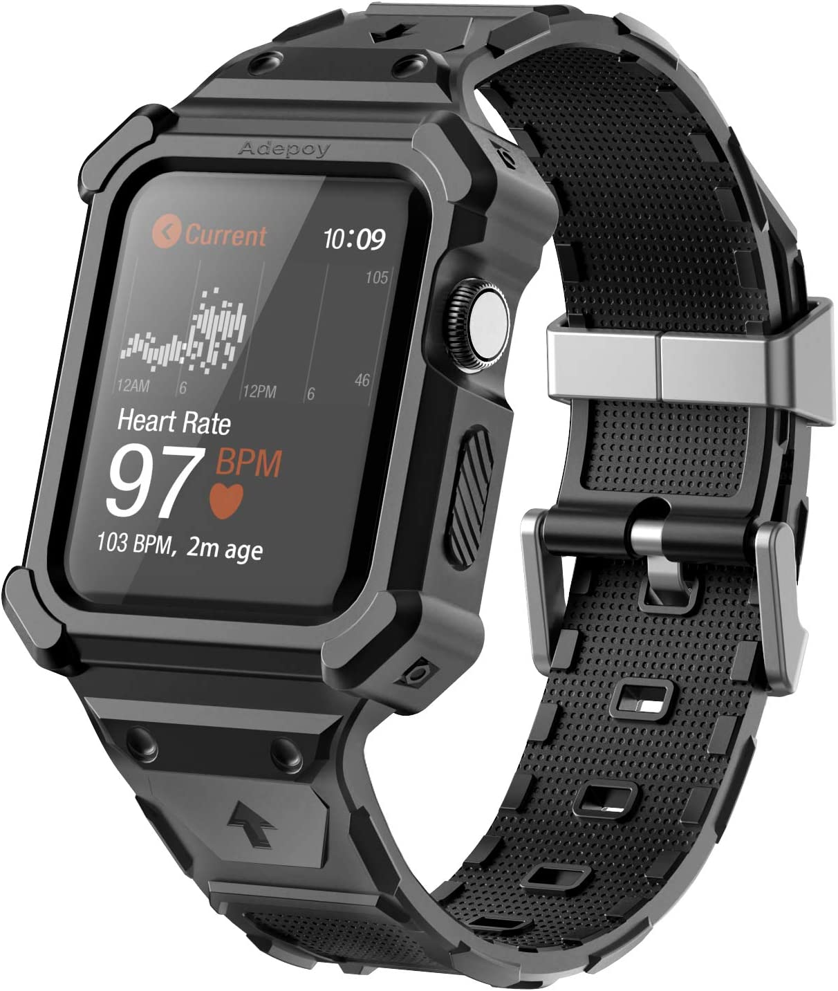 Adepoy Compatible for Apple Watch Bands 42mm 44mm, Rugged Protective Case with Strap Wristband with Drop-Proof Shockproof Bumper Case for Men Apple iWatch Series 6/5/4/3/2/SE