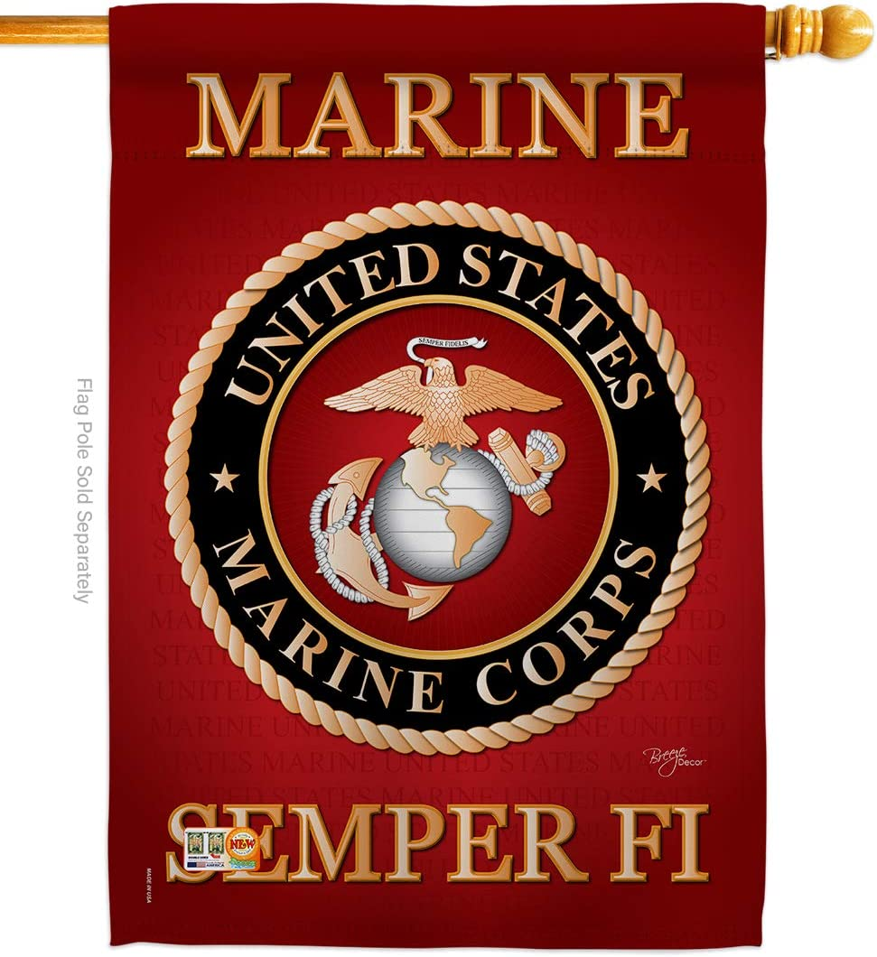 "Breeze Decor - Marine Corps Americana - Everyday Military Impressions Decorative Vertical House Flag 28"" x 40"" Printed In USA"
