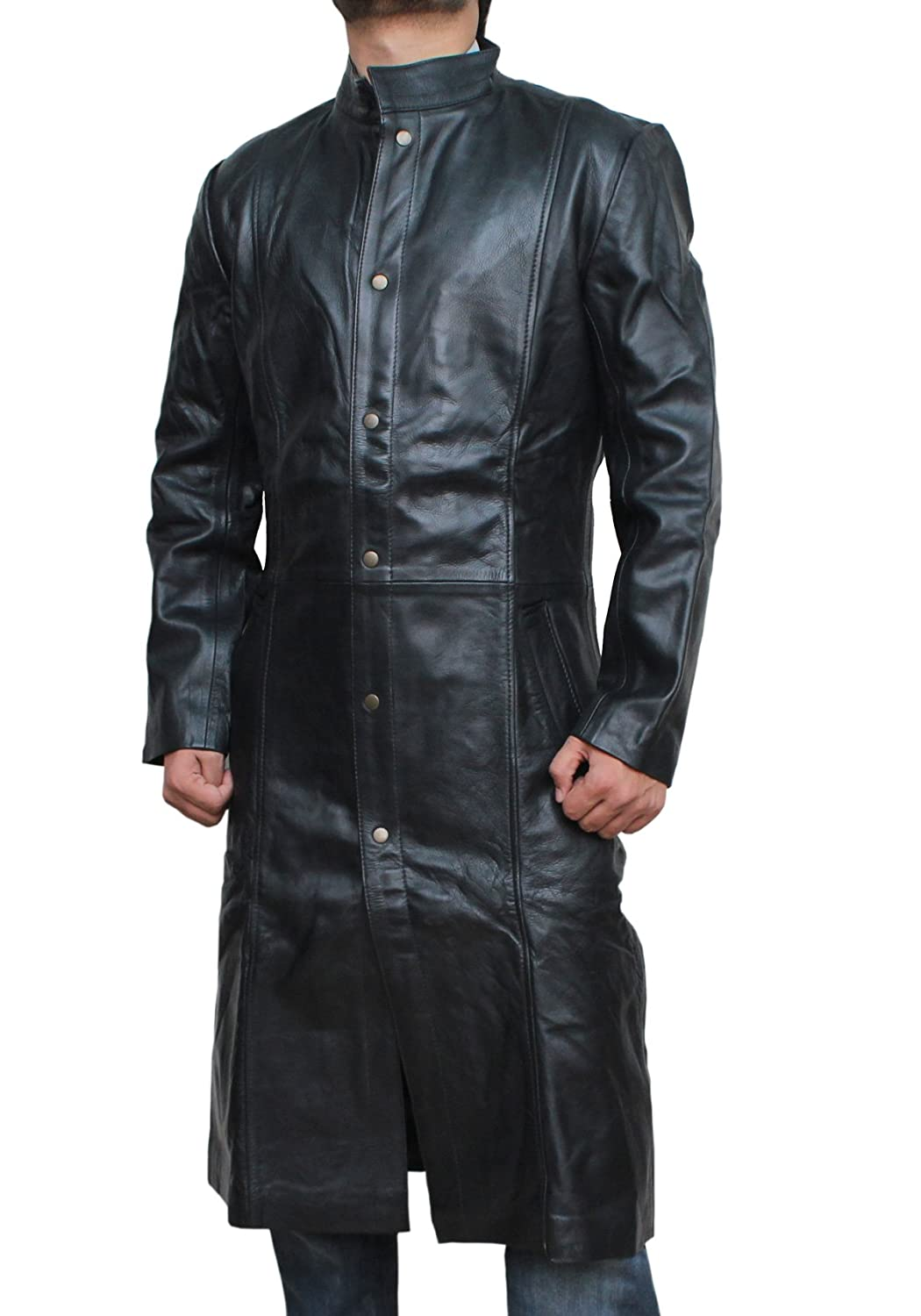 The Avengers: Men's Nick Fury Black Genuine Leather Coat  - DeluxeAdultCostumes.com
