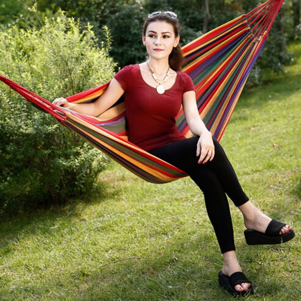 Nochim Portable Canvas Hammock Single/Double Cotton Fabric Outdoor Snap Hanging Hammock Lightweight Soft Leisure Bed for 2 Person by Nochim (Image #7)