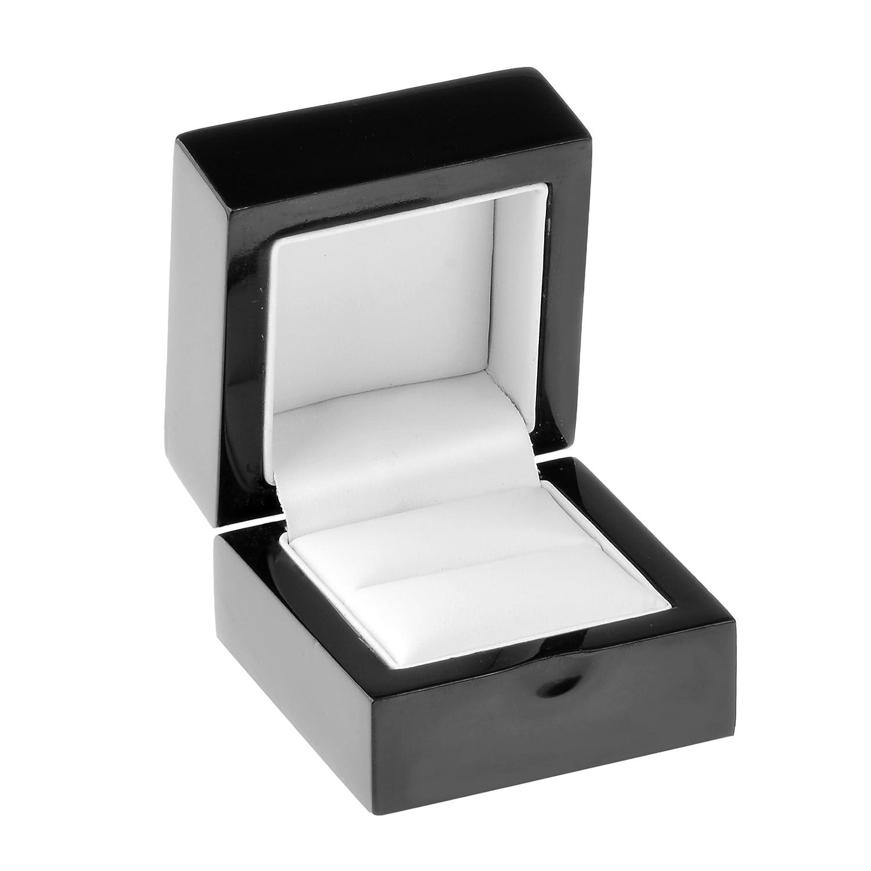 Geff House Black Wood Ring Jewelry Proposal Gift Box