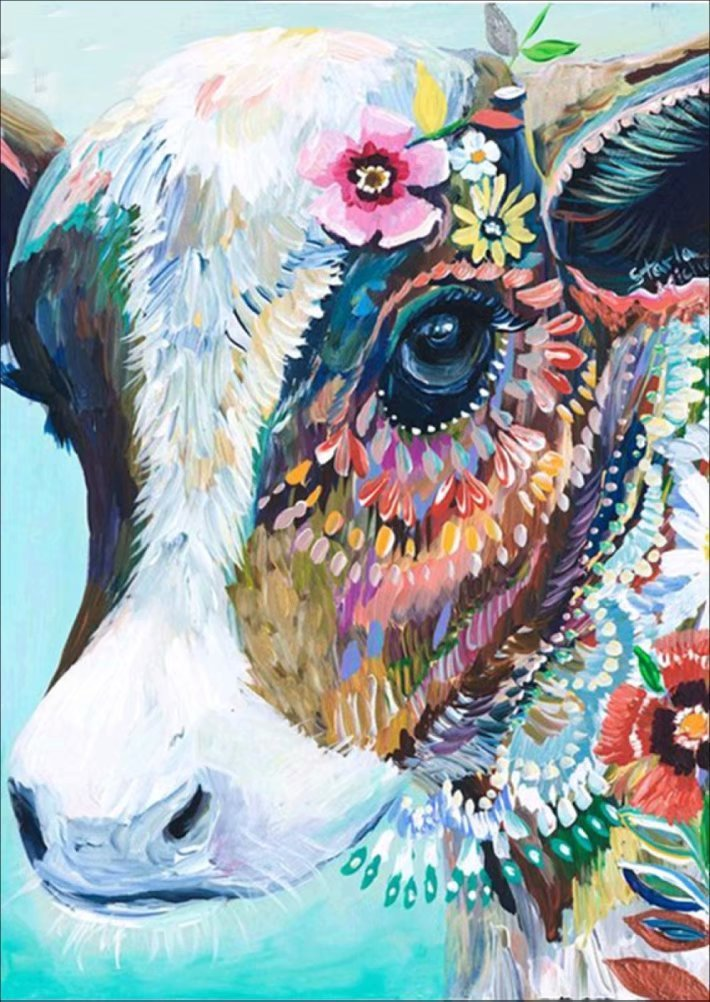 DIY 5D Diamond Painting by Number Kit, LPRTALK Full Drill Diamonds Painting Animal Colorful Cow Rhinestone Embroidery Cross Stitch Supply Arts Craft Canvas Wall Decor 12X14 inches
