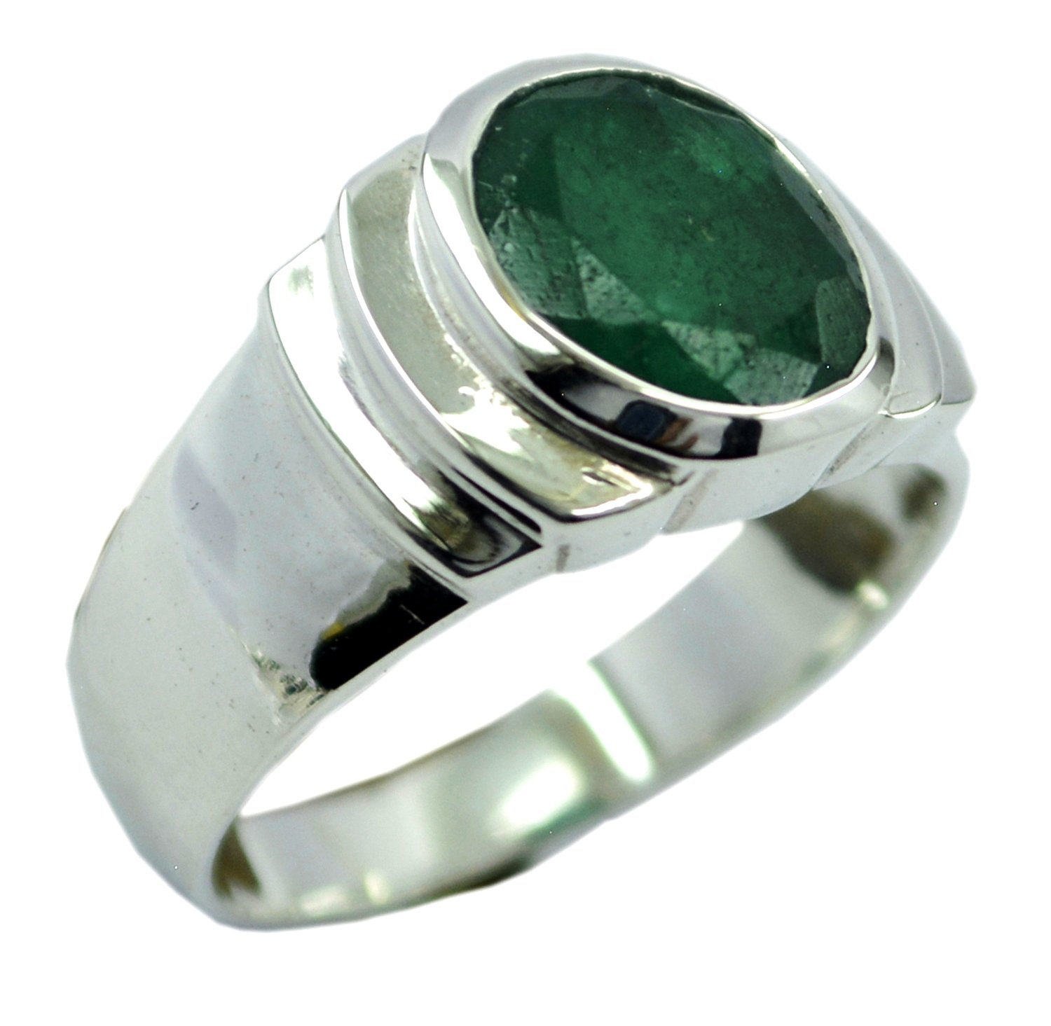 Genuine Indian Emerald Ring For Women Men Chakra Healing Sterling Jewelry Silver Size 5,6,7,8,9,10,11,12