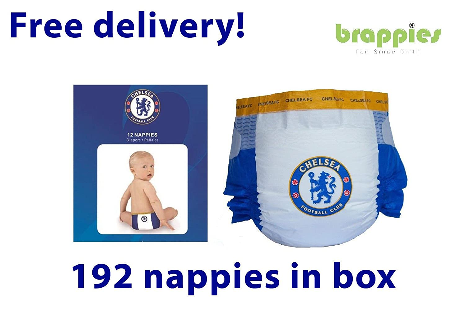 Present Brappies Dif Sizes Gift Official Liverpool FC Baby Nappies