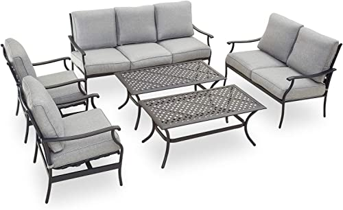 PatioFestival Patio Conversation Set 6 Pieces Metal Outdoor Furniture Seating Set