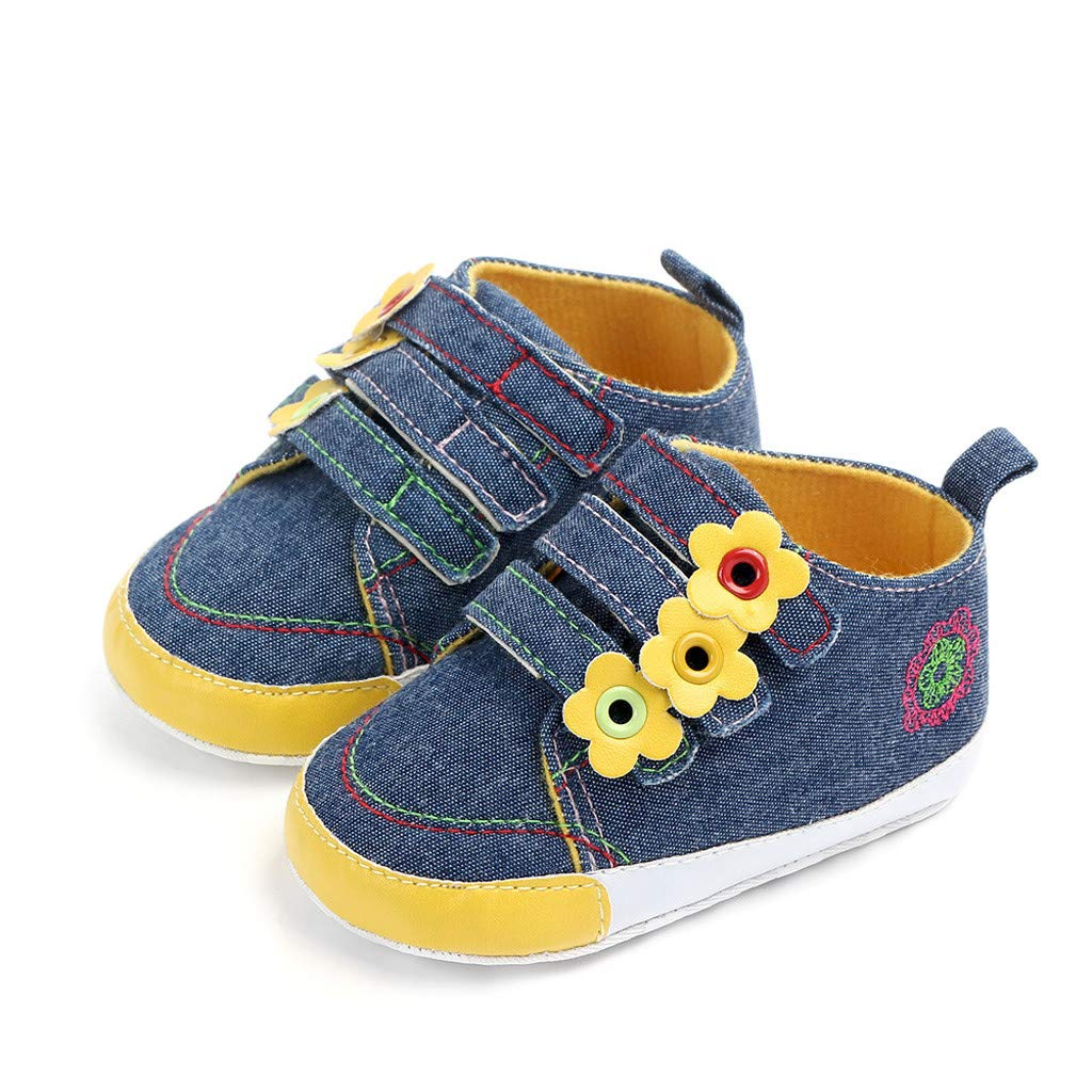 NUWFOR Baby Girls Newborn Infant Baby Canvas Shoes Casual First Walkers Toddler Shoes(Dark Blue,0-3Months)