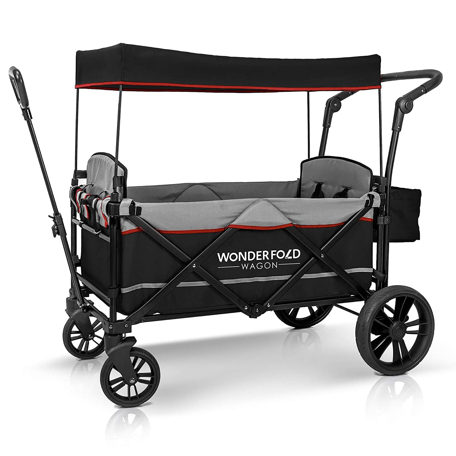 WonderFold Baby XL 2 Passenger Push Pull Twin Double Stroller Wagon with Adjustable Handle Bar, Removable Canopy, Safety Seats with 5-Point Harness, Safety Reflective Strip (Black)