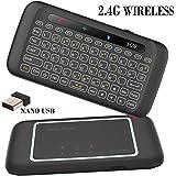 Mini tastiera, LinStar H20 2.4G Tastiera wireless da gioco con Touchpad Mouse RGB Telecomando intelligente Telecomando TV per Android TV Box, PC Windows, laptop, HTPC, IPTV, Raspberry Pi, XBOX 360, PS3, Ps4